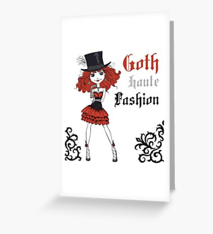 Goth girl in black dress and silk hat Greeting Card