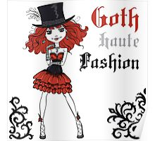 Goth girl in black dress and silk hat Poster