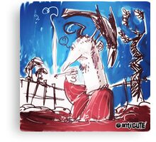 man with crow cartoon style illustration Canvas Print