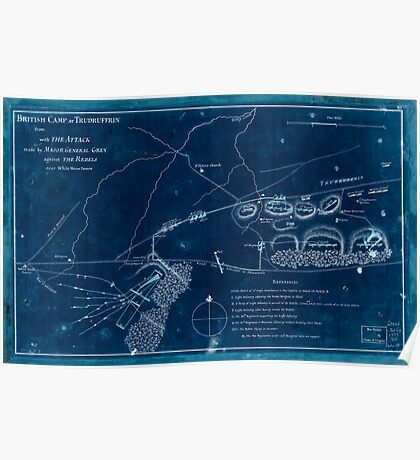 American Revolutionary War Era Maps 1750-1786 355 British camp at Trudruffrin from sic with the attack made by Major General Grey against the rebels near Inverted Poster