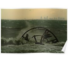 Joe Mortelliti Gallery - Wreck of the 'Ozone', Indented Head, Bellarine Peninsula, with Melbourne in the background, Victoria, Australia. Poster