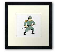 Confederate Army Soldier Drawing Sword Cartoon Framed Print