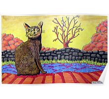 423 - YELLOW CAT - DAVE EDWARDS - COLOURED PENCILS - 2016 Poster