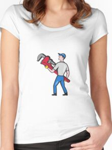 Plumber Carry Monkey Wrench Walking Cartoon Women's Fitted Scoop T-Shirt