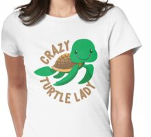 Crazy Turtle Lady (circle) new cute turtle Womens Fitted T-Shirt