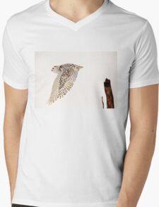 Snowy Owl In Flight Mens V-Neck T-Shirt