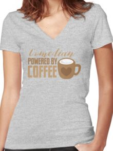 Comedian powered by COFFEE Women's Fitted V-Neck T-Shirt
