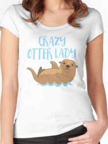 Crazy OTTER lady (new swimming) Women's Fitted Scoop T-Shirt