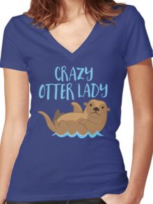 Crazy OTTER lady (new swimming) Women's Fitted V-Neck T-Shirt