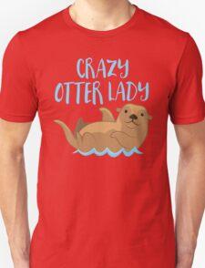 Crazy OTTER lady (new swimming) Unisex T-Shirt