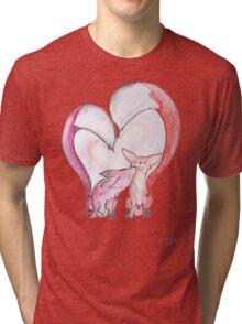 Fox Love - Kissing Foxes artwork Tri-blend T-Shirt