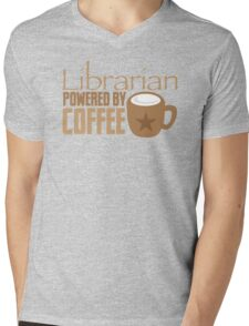 Librarian powered by Coffee Mens V-Neck T-Shirt