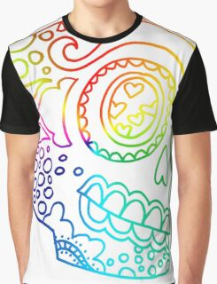 Rainbow Lines Sugar Skull in Love Graphic T-Shirt