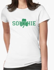 Southie (green on white) Womens Fitted T-Shirt