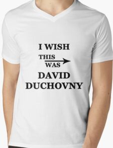 I wish this was David Duchovny Mens V-Neck T-Shirt