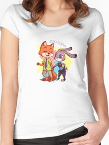 Zootopia chibis Women's Fitted Scoop T-Shirt