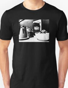 Breakfast At Spor's in Black and White Unisex T-Shirt