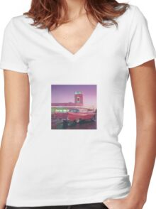 Pink 1959 Cadillac Coupe DeVille Diner Women's Fitted V-Neck T-Shirt