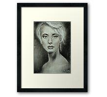 Girl portrait Women's feelings. Charcoal on paper. Size: 63x42cm Framed Print