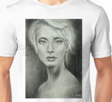 Girl portrait Women's feelings. Charcoal on paper. Size: 63x42cm Unisex T-Shirt