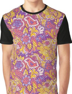 Purple and yellow flower pattern Graphic T-Shirt