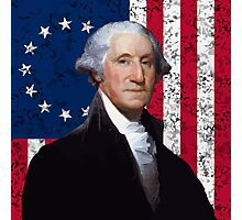 Washington and The American Flag Photographic Print