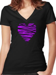 0246 Electric Purple Tiger Women's Fitted V-Neck T-Shirt