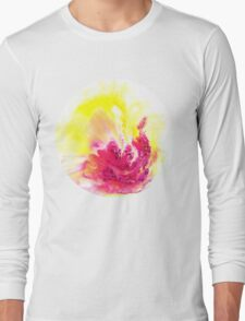 Yellow Orchid abstract yellow and pink and  white on round canvas Long Sleeve T-Shirt