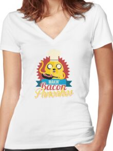 Jake The Dog Making Bacon Pancakes Women's Fitted V-Neck T-Shirt