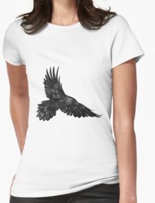 Raven in flight Womens Fitted T-Shirt