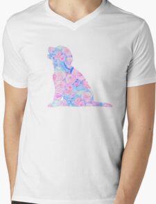 Sitting Floral Puppy Mens V-Neck T-Shirt