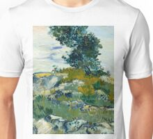 1888-Vincent van Gogh-Rocks with Oak Tree-54,94x65,74 Unisex T-Shirt