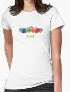 Cadiz skyline in watercolor Womens Fitted T-Shirt