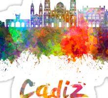Cadiz skyline in watercolor Sticker