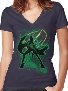 Super Smash Bros Green Bayonetta (Original) Silhouette Women's Fitted V-Neck T-Shirt