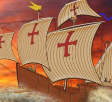 Santa Maria (Christopher Columbus) in a Stormy Sea & Red Sky Sticker