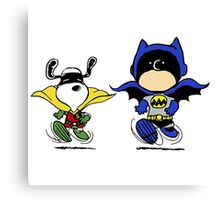 Batman and Robin Peanuts Canvas Print