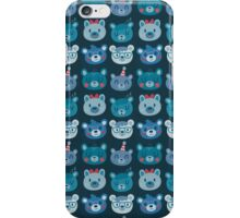Fun Blue Bear Faces Pattern iPhone Case/Skin