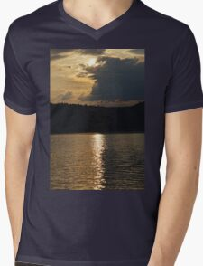 Sunset at Solina Lake Mens V-Neck T-Shirt