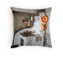 Old kitchen in a cottage  Throw Pillow