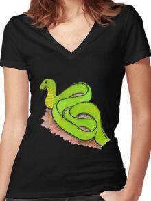 Cute little green snake Women's Fitted V-Neck T-Shirt