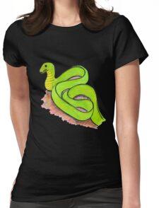 Cute little green snake Womens Fitted T-Shirt