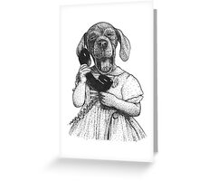 Dog on the phone Greeting Card