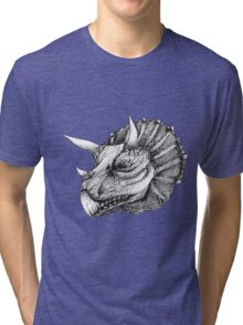 Triceratops pen drawing Tri-blend T-Shirt