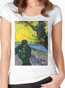 1888-Vincent van Gogh-The sower-32x40 Women's Fitted Scoop T-Shirt