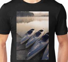 Kayak canoe boats at lake shore in morning fog Unisex T-Shirt
