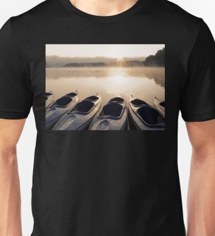 Kayak boats at lake Unisex T-Shirt