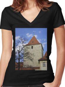 The Black Tower, Prague Women's Fitted V-Neck T-Shirt