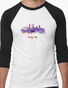 Nagoya skyline in watercolor Men's Baseball ¾ T-Shirt