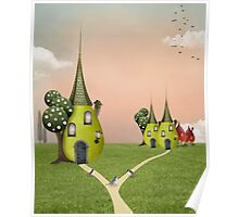 Surreal country village Poster